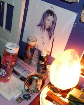 Signed 12x12 artwork from the AWAKE bundle + bedside altar